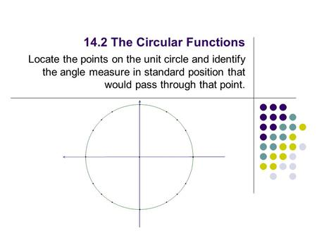 14.2 The Circular Functions Locate the points on the unit circle and identify the angle measure in standard position that would pass through that point.