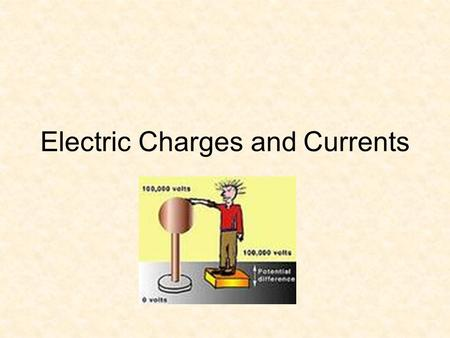 Electric Charges and Currents Electric Charge 3 parts of an atom –Proton ( + ) –Neutron ( o ) –Electron ( - ) Like charges repel Different charges attract.