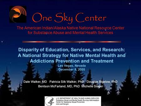 1 The American Indian/Alaska Native National Resource Center for Substance Abuse and Mental Health Services Disparity of Education, Services, and Research: