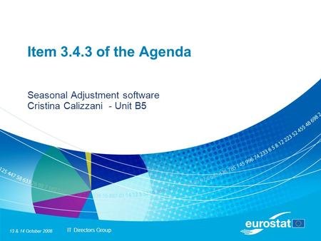 IT Directors Group 13 & 14 October 2008 Item 3.4.3 of the Agenda Seasonal Adjustment software Cristina Calizzani - Unit B5.