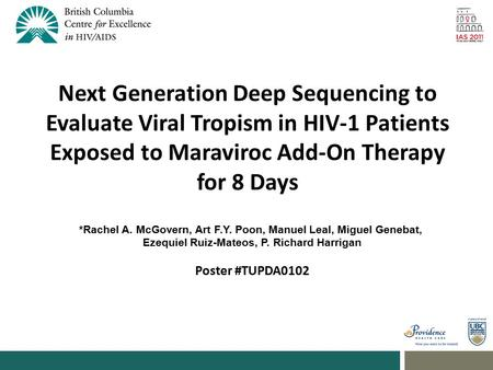 Next Generation Deep Sequencing to Evaluate Viral Tropism in HIV-1 Patients Exposed to Maraviroc Add-On Therapy for 8 Days *Rachel A. McGovern, Art F.Y.