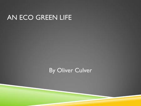 AN ECO GREEN LIFE By Oliver Culver. DESCRIPTION To create designs for two eco friendly houses located on Long Island.