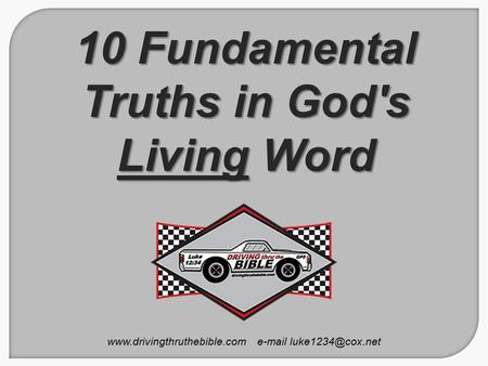 10 Fundamental Truths in God's Living Word