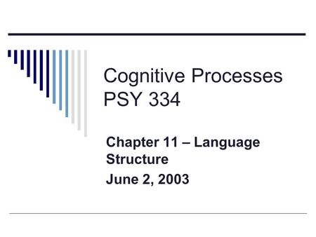 Cognitive Processes PSY 334 Chapter 11 – Language Structure June 2, 2003.