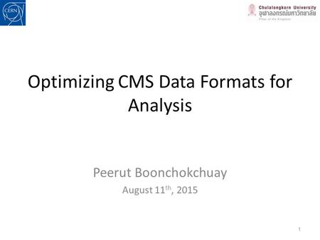 Optimizing CMS Data Formats for Analysis Peerut Boonchokchuay August 11 th, 2015 1.