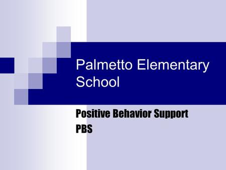 Palmetto Elementary School Positive Behavior Support PBS.