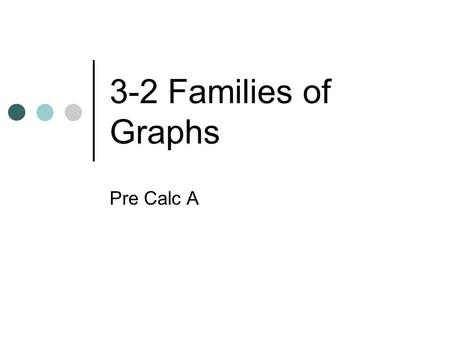 3-2 Families of Graphs Pre Calc A. Parent Graphs.
