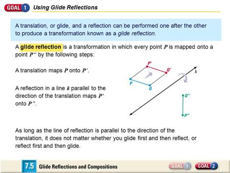 Using Glide Reflections A translation, or glide, and a reflection can be performed one after the other to produce a transformation known as a glide reflection.