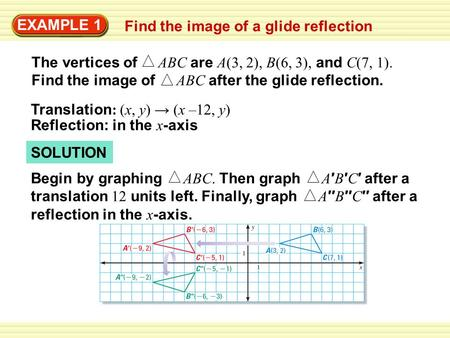 SOLUTION EXAMPLE 1 Find the image of a glide reflection The vertices of ABC are A(3, 2), B(6, 3), and C(7, 1). Find the image of ABC after the glide reflection.