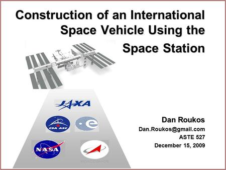 Construction of an International Space Vehicle Using the Space Station Dan Roukos ASTE 527 December 15, 2009.