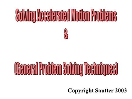 Copyright Sautter 2003. General Problem Solving Steps (1) Read the problem more than once (three of four times is preferable) (2) Decide what is to be.