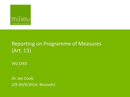 Reporting on Programme of Measures (Art. 13)
