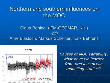 Northern and southern influences on the MOC Claus Böning (IFM-GEOMAR, Kiel) with Arne Biastoch, Markus Scheinert, Erik Behrens Northern and southern influences.