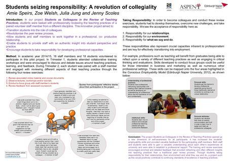 Students seizing responsibility: A revolution of collegiality Amie Speirs, Zoe Welsh, Julia Jung and Jenny Scoles Introduction: In our project Students.