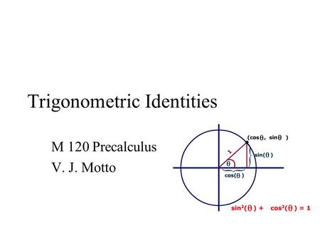 Trigonometric Identities M 120 Precalculus V. J. Motto.