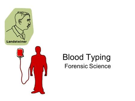Blood Typing Forensic Science. History of Typing 1901: Austrian, Karl Landsteiner discovered human blood groups Mixing 2 different kinds of blood that.