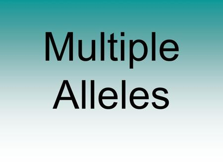 Multiple Alleles. allele = (n) a form of a gene which codes for one possible outcome of a phenotype For example, in Mendel's pea investigations, he found.