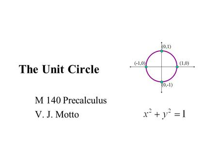 "The Unit Circle M 140 Precalculus V. J. Motto. Remembering the ""special"" right triangles from geometry. The first one is formed by drawing the diagonal."