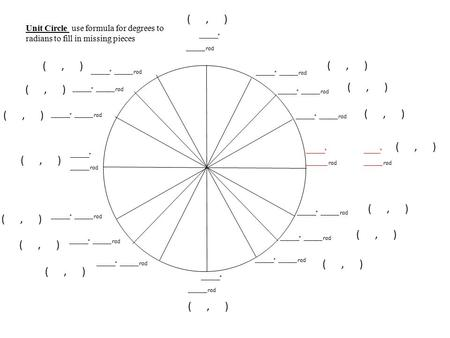 _______º _______ rad _______º ________ rad ­­­­ _______º _______ rad _______º _______ rad ­­­­ _______º _______ rad ______º _______ rad Unit Circle use.