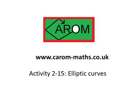Activity 2-15: Elliptic curves www.carom-maths.co.uk.