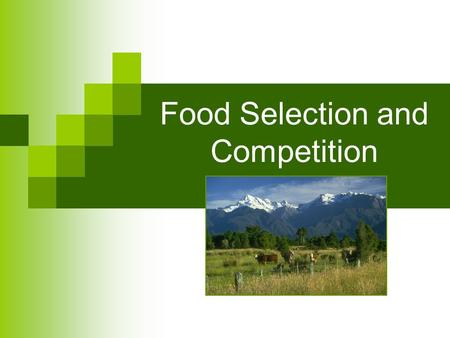 Food Selection and Competition. Food Selection and Location Humans – love variety Animals - Food preferences do exist  But… survival prevails In the.