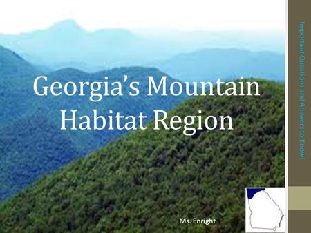 Georgia's Mountain Habitat Region Important Questions and Answers to Know! Ms. Enright.