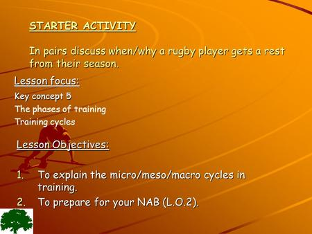 STARTER ACTIVITY In pairs discuss when/why a rugby player gets a rest from their season. Lesson Objectives: 1.To explain the micro/meso/macro cycles in.