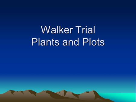 Walker Trial Plants and Plots. Revegetation Trial Plants (Grasses)
