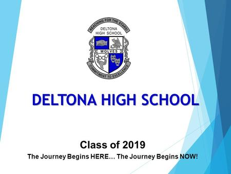 Class of 2019 The Journey Begins HERE… The Journey Begins NOW! DELTONA HIGH SCHOOL.