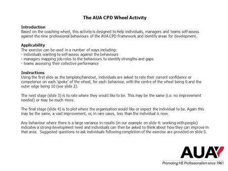 The AUA CPD Wheel Activity Introduction Based on the coaching wheel, this activity is designed to help individuals, managers and teams self-assess against.