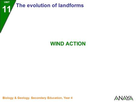 UNIT 11 The evolution of landforms Biology & Geology. Secondary Education, Year 4 WIND ACTION.