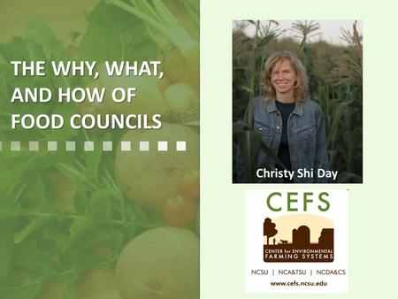 THE WHY, WHAT, AND HOW OF FOOD COUNCILS Christy Shi Day.