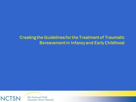 Creating the Guidelines for the Treatment of Traumatic Bereavement in Infancy and Early Childhood.