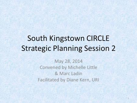 South Kingstown CIRCLE Strategic Planning Session 2 May 28, 2014 Convened by Michelle Little & Marc Ladin Facilitated by Diane Kern, URI 1.