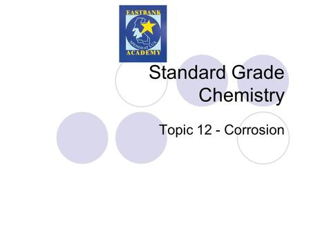 Standard Grade Chemistry Topic 12 - Corrosion. Corrosion Corrosion is the changing of the surface of the metal from an element into a compound. This natural.