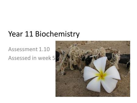 Assessment 1.10 Assessed in week 5 Year 11 Biochemistry.
