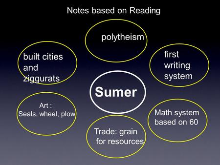 Notes based on Reading Sumer built cities and ziggurats polytheism first writing system Art : Seals, wheel, plow Trade: grain for resources Math system.