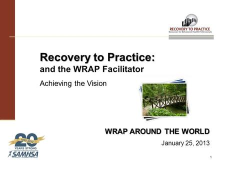 Recovery to Practice: Recovery to Practice: and the WRAP Facilitator Achieving the Vision WRAP AROUND THE WORLD January 25, 2013 1.