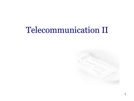 1 Telecommunication II. 2 Course Books Understanding Telecommunications, Part II ISBN 91-44-00214-9 Ericsson, Telia Wireless Communications and Networks.