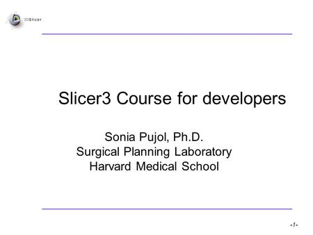 Slicer3 for developers – S.Pujol -1- National Alliance for Medical Image Computing Slicer3 Course for developers Sonia Pujol, Ph.D. Surgical Planning Laboratory.