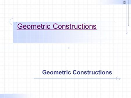 Geometric Constructions. Points and Lines A point represents a location in space. A line is the shortest distance between two points.