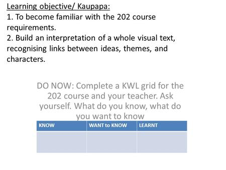 Learning objective/ Kaupapa: 1. To become familiar with the 202 course requirements. 2. Build an interpretation of a whole visual text, recognising links.