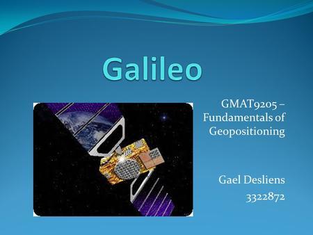 GMAT9205 – Fundamentals of Geopositioning Gael Desliens 3322872.