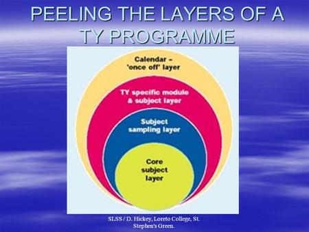 SLSS / D. Hickey, Loreto College, St. Stephen's Green. PEELING THE LAYERS OF A TY PROGRAMME.
