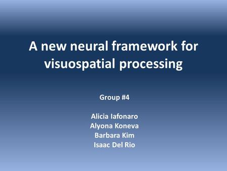 A new neural framework for visuospatial processing Group #4 Alicia Iafonaro Alyona Koneva Barbara Kim Isaac Del Rio.