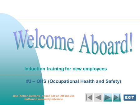 Induction training for new employees
