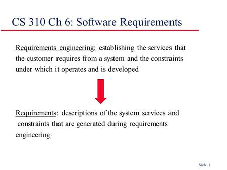 Slide 1 CS 310 Ch 6: Software Requirements Requirements engineering: establishing the services that the customer requires from a system and the constraints.