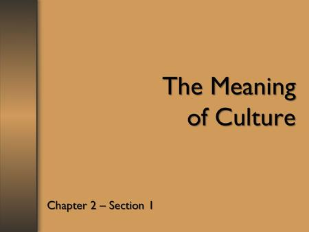 The Meaning of Culture Chapter 2 – Section 1.