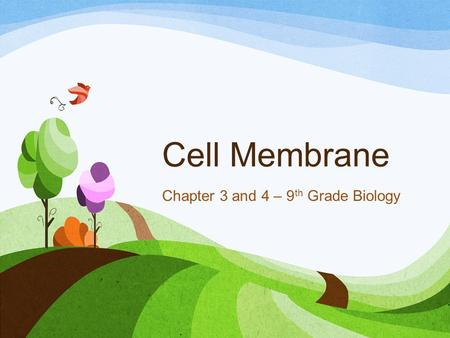 Cell Membrane Chapter 3 and 4 – 9 th Grade Biology.