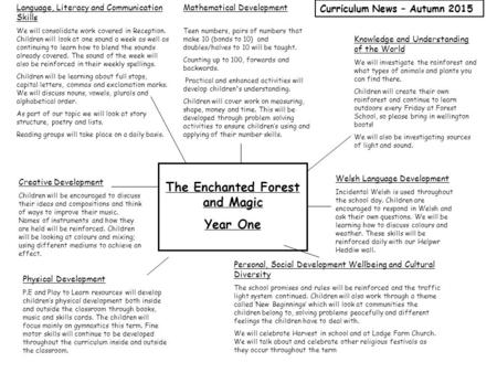 The Enchanted Forest and Magic Year One Knowledge and Understanding of the World We will investigate the rainforest and what types of animals and plants.